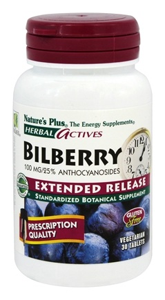 Nature's Plus - Herbal Actives Bilberry Extended Release 100 mg. - 30 Tablets