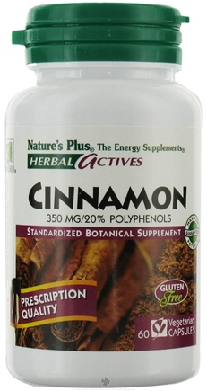 DROPPED: Nature's Plus - Herbal Actives Cinnamon 350 mg. - 60 Vegetarian Capsules CLEARANCE PRICED