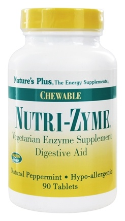 Nature's Plus - Nutri-Zyme Chewable Digestive Aid Peppermint - 90 Chewable Tablets