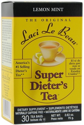 DROPPED: Laci Le Beau - Super Dieter's Tea Caffeine Free Lemon Mint - 30 Tea Bags CLEARANCE PRICED
