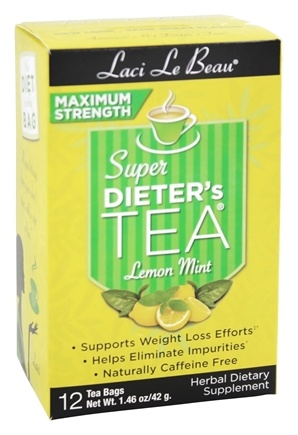 Laci Le Beau - Super Dieter's Tea Maximum Strength Lemon Mint Caffeine Free - 12 Tea Bags