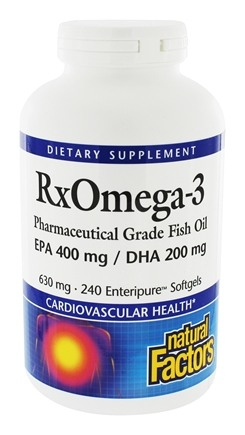 Natural Factors - RxOmega-3 Factors Pharmaceutical Grade EPA 400 mg/DHA 200 mg - 240 Softgels