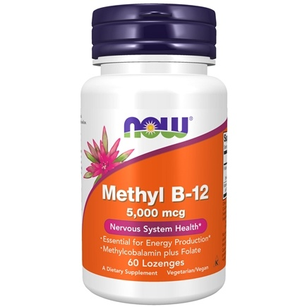 NOW Foods - Methyl B-12 with Folic Acid 5000 mcg. - 60 Lozenges