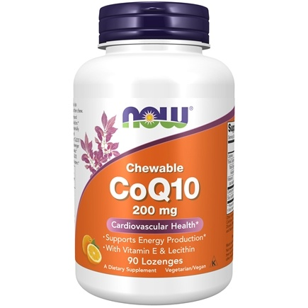NOW Foods - CoQ10 Cardiovascular Health with Lecithin & Vitamin E 200 mg. - 90 Lozenges
