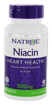Natrol - Niacin-TR Time Release Flush-Free 500 mg. - 100 Tablets