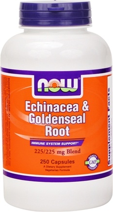 DROPPED: NOW Foods - Echinacea and Goldenseal Root 225 mg. - 250 Capsules CLEARANCE PRICED
