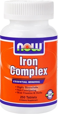 DROPPED: NOW Foods - Iron Complex Essential Mineral with Vitamins and Herbs - 250 Tablets