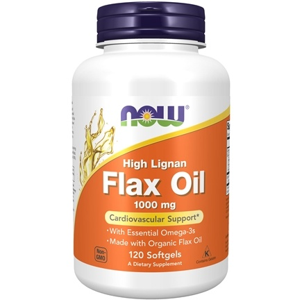 NOW Foods - High Lignan Flax Oil Organic 1000 mg. - 120 Softgels