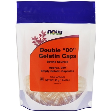 "NOW Foods - Gelatin Empty Capsules Double ""00"" Size - 250 Gelcaps"
