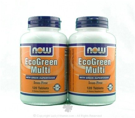 DROPPED: NOW Foods - Eco-Green Iron-Free Multiple Vitamin (120+120) Twin Pack Special - 240 Tablets
