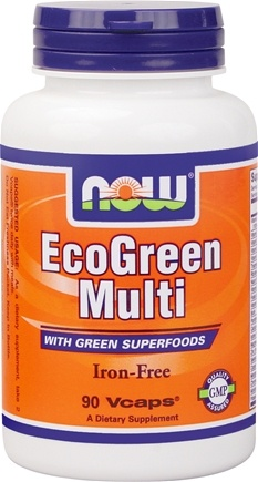 NOW Foods - Eco-Green Multi with Green Superfoods Iron-Free - 90 Vegetarian Capsules