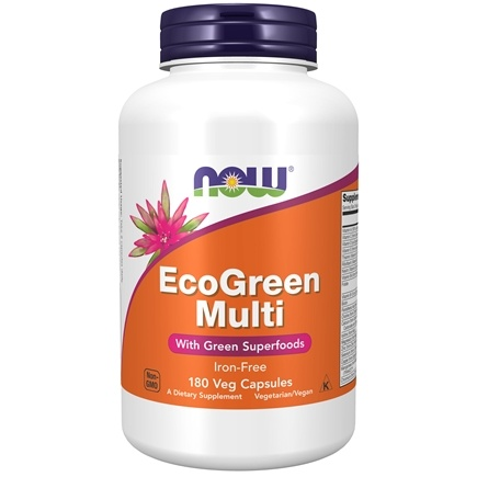NOW Foods - Eco-Green Multi with Green Superfoods Iron-Free - 180 Vegetarian Capsules