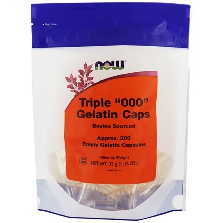 """NOW Foods - Gelatin Empty Capsules Triple """"000"""" Size - 200 Gelcaps LUCKYDEAL"""