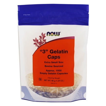 NOW Foods - Gelatin Empty Capsules '3' Size (Extra Small Size) - 1000 Gelcaps