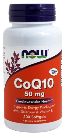 NOW Foods - CoQ10 Cardiovascular Health with Selenium and Vitamin E 50 mg. - 200 Softgels