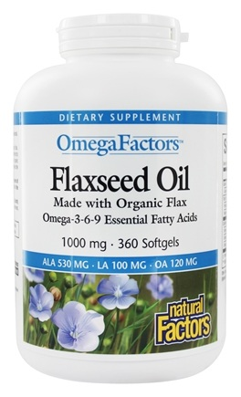 Natural Factors - OmegaFactors Flaxseed Oil Organic 1000 mg. - 360 Softgels