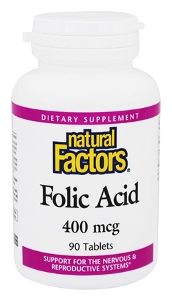 DROPPED: Natural Factors - Folic Acid with Calcium 22 Mg 400 mg. - 90 Tablets