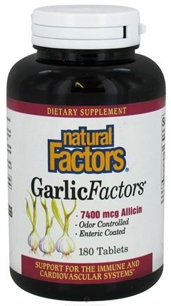 DROPPED: Natural Factors - Garlic Factors 7400 mcg. - 180 Tablets