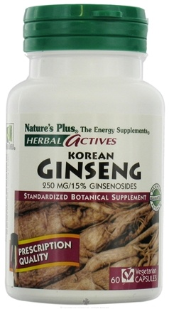 DROPPED: Nature's Plus - Herbal Actives Korean Ginseng 250 mg. - 60 Vegetarian Capsules CLEARANCE PRICED
