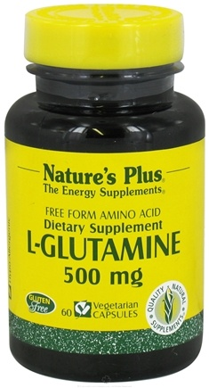 DROPPED: Nature's Plus - L-Glutamine Free Form Amino Acid 500 mg. - 60 Vegetarian Capsules CLEARANCE PRICED