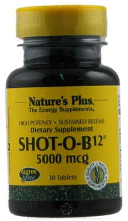 DROPPED: Nature's Plus - Shot-O-B12 S/R 5000 mcg. - 30 Tablets