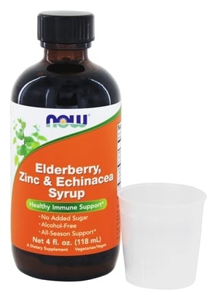 NOW Foods - Elderberry, Zinc, and Echinacea Syrup - 4 oz.