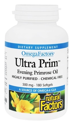 DROPPED: Natural Factors - UltraPrim OmegaFactors Evening Primrose Oil 500 mg - 180 Softgels CLEARANCE PRICED
