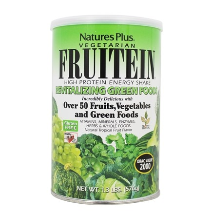 Nature's Plus - Vegetarian Fruitein Revitalizing Green Foods Shake Gluten-Free - 1.3 lbs.
