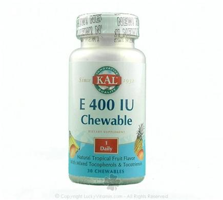 DROPPED: Kal - Vitamin E Tropical Flavor 400 IU - 30 Chewable Tablets