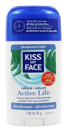 Kiss My Face - Natural Active Life Deodorant Stick Aluminum Free Fragrance Free - 2.48 oz.