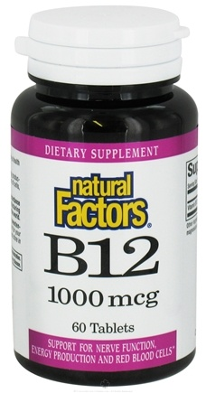 DROPPED: Natural Factors - B12 Cyanocobalamin 1000 mcg. - 60 Tablets CLEARANCE PRICED