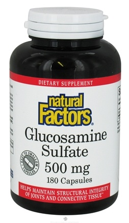 DROPPED: Natural Factors - Glucosamine Sulfate 500 mg. - 180 Capsules CLEARANCE PRICED