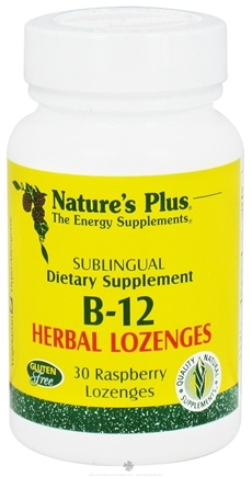 DROPPED: Nature's Plus - Vitamin B-12 Herbal Lozenges Raspberry - 30 Lozenges CLEARANCE PRICED