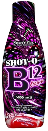 DROPPED: Nature's Plus - Liquilicious Shot-O-B12 Liquid Cherry Burst 5000 mcg. - 8 oz. CLEARANCE PRICED
