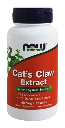 "NOW Foods - Cat's Claw Extract 10:1 Concentrate/1.5% Standardized Extract - 60 Vegetarian Capsules (formerly Cat's Claw ""5000"")"