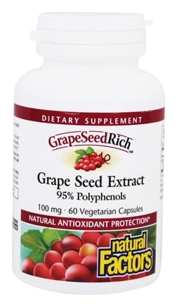 Natural Factors - GrapeSeedRich Grape Seed Extract 95% Polyphenols 100 mg. - 60 Capsules