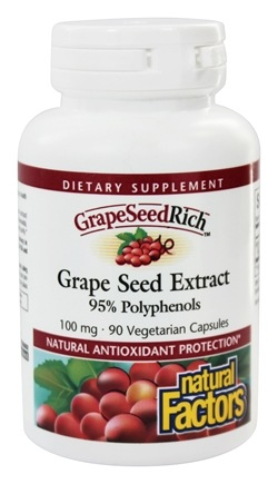 Natural Factors - GrapeSeedRich Grape Seed Extract 95% Polyphenols 100 mg. - 90 Capsules