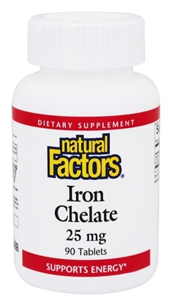 DROPPED: Natural Factors - Iron Chelate 25 mg. - 90 Tablets CLEARANCE PRICED