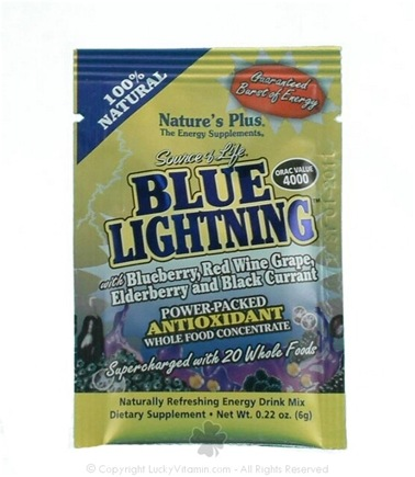 DROPPED: Nature's Plus - Source of Life Blue Lightning Antioxidant Energy Drink - 1 Packet CLEARANCE PRICED