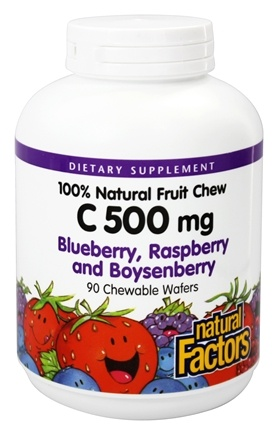 Natural Factors - C 100% Natural Fruit Chews Blueberry, Raspberry and Boysenberry 500 mg. - 90 Chewable Wafers