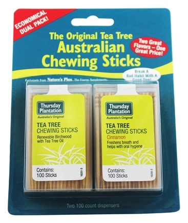 Thursday Plantation - The Original Australian Tea Tree Chewing Sticks (Toothpicks) Twin Pack Special Cinnamon Flavor + Original - 200 Stick(s)