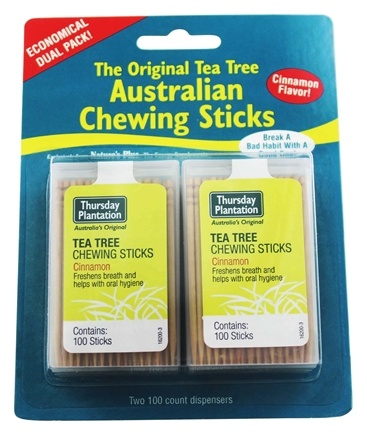 Thursday Plantation - The Original Australian Tea Tree Chewing Sticks (Toothpicks) Twin Pack Special Cinnamon Flavor - 200 Stick(s)