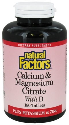 Natural Factors - Calcium & Magnesium Citrate With D - 180 Tablets