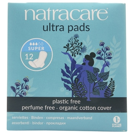 Natracare - Organic Cotton Natural Feminine Ultra Pads Super with Wings - 12 Pad(s)