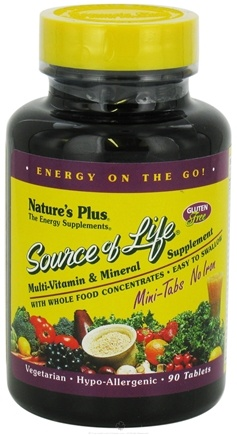 DROPPED: Nature's Plus - Source Of Life Mini Tabs No Iron - 90 Tablets CLEARANCE PRICED