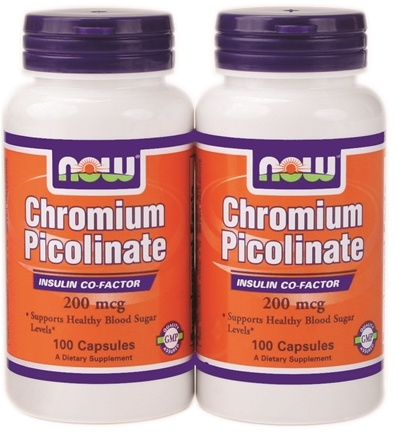 NOW Foods - Chromium Picolinate (100+100) Twin Pack Special 200 mcg. - 200 Capsules