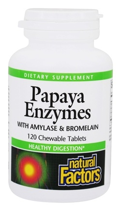 Natural Factors - Chewable Papaya Enzymes - 120 Chewable Tablets
