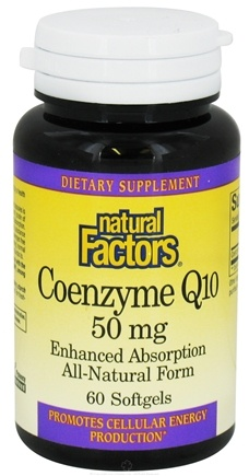 DROPPED: Natural Factors - CoEnzyme Q10 Enhanced Absorption All-Natural Form 50 mg. - 60 Softgels