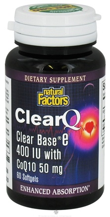 DROPPED: Natural Factors - ClearQ Clear Base Vitamin E Enhanced Absorption 400 IU - 60 Softgels CLEARANCE PRICED