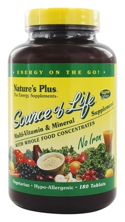Nature's Plus - Source Of Life Multi-Vitamin & Mineral No Iron - 180 Vegetarian Tablets